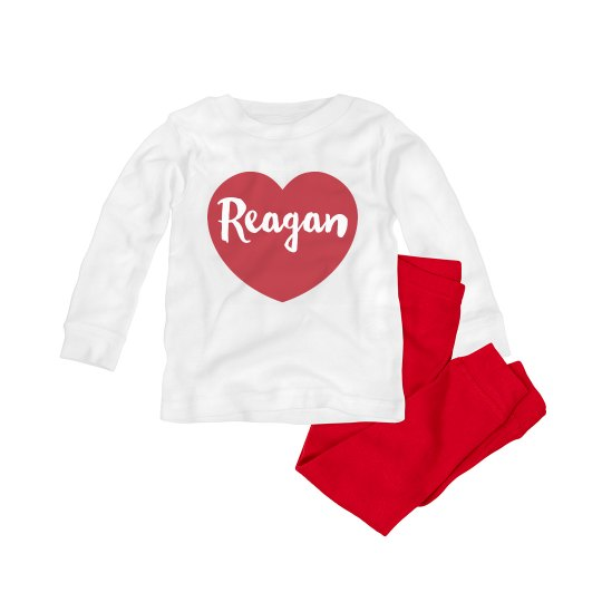Cute Custom Baby Valentine PJ Set
