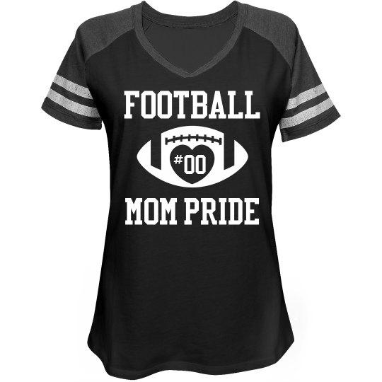 Cute Football Mom Custom Number Sports Shirt