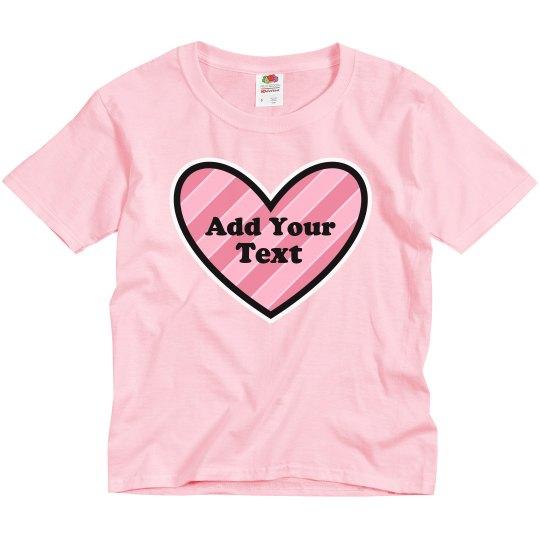 Cute Girls Valentine Add Text Heart
