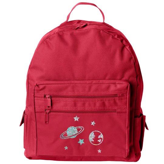 Cute Glitter Planets Kids Backpack