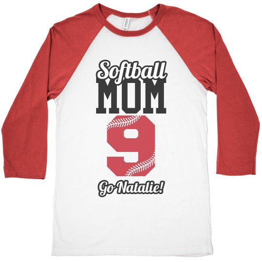 Cute Softball Mom With Custom Name Number