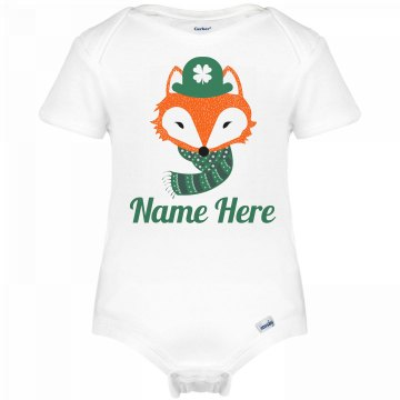 Cute St Patricks Fox Baby Onesie