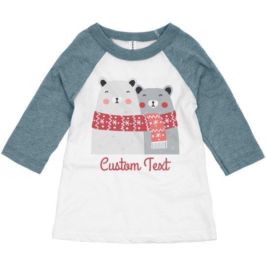 Cutest Winter Polar Bear Toddler Raglan Custom Text
