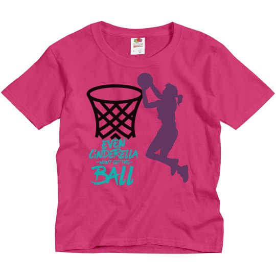 Cyber pink youth tee w/basketball girl graphic