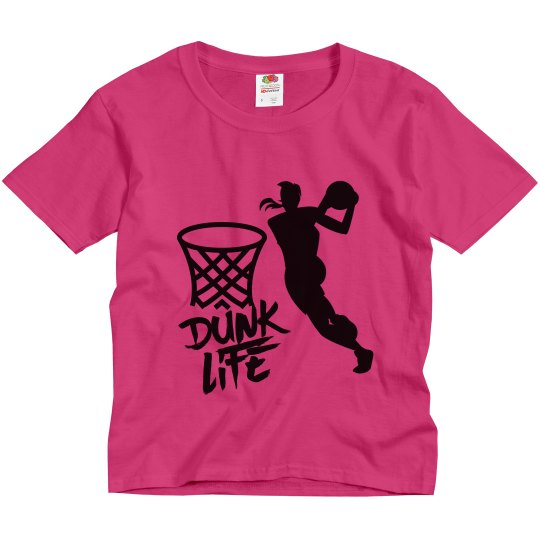 Cyber pink youth tee w/girl dunker graphic