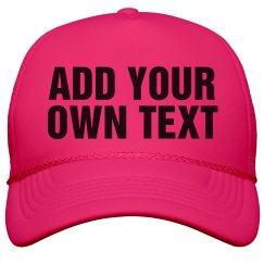 Custom Neon Hats with Big Bold Text