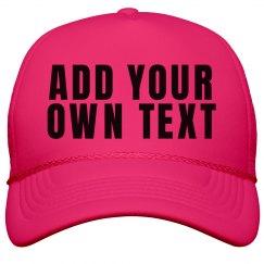 Custom Neon Hats with Big Bold Text
