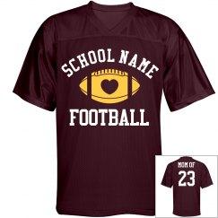 Proud Football Mom Jersey in School Colors