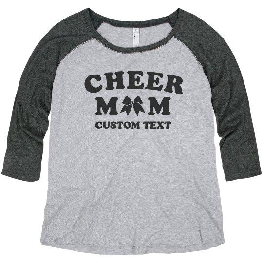 120ef46b4c9 Customizable Cheer Mom Plus Raglan Ladies Curvy Plus Size Raglan Baseball T- Shirt