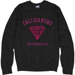 Cali diamond pink logo pullover