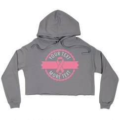 Pink Ribbon Badge Crop Hoodie