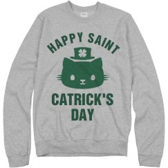 St Catricks Day Green Cat Clover