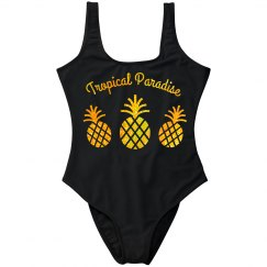 Gold Glitter Pineapples Tropical Paradise