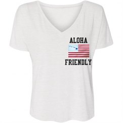 LADIES FLOWY V-NECK TEE