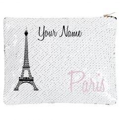 Paris. Sequin Makeup Bag