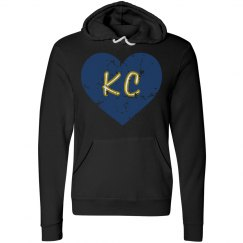 I HeartKC Hoodie - black/royal - ultrasoft - distressed