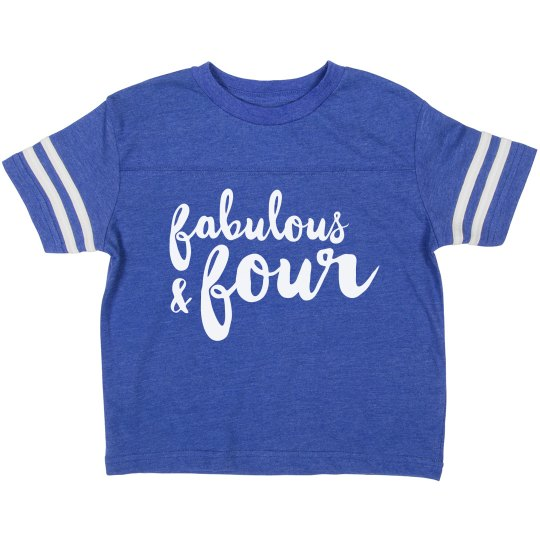 Fabulous And Four Birthday Shirt Toddler Vintage Sports T