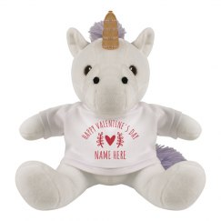 Happy Valentine's Day Custom Unicorn Plush