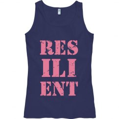 RESILIENT Pink Text Fitted Tank Top