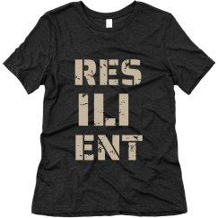 RESILIENT Tan Text Ladies T-Shirt