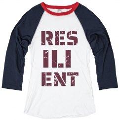 RESILIENT Maroon Text Ladies Raglan T-Shirt