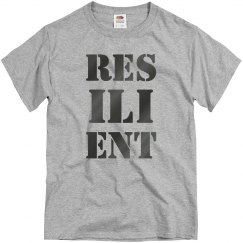 RESILIENT Gun Metal Text Unisex T-Shirt
