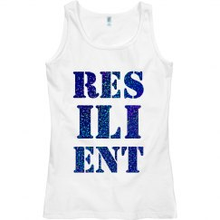 RESILIENT Blue Glitter Text Ladies Tank Top