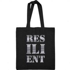 RESILIENT Silver Metallic Text Canvas Tote Bag