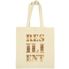 RESILIENT Gold Metallic Text Canvas Tote Bag
