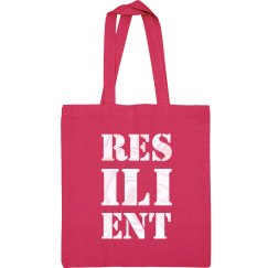 RESILIENT Pearl White Text Canvas Tote Bag