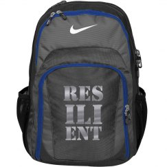 RESILIENT Silver Metallic Text Nike Backpack