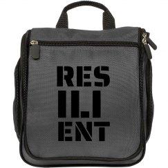 RESILIENT Black Text Makeup Bag
