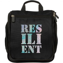 RESILIENT Silver Glitter Text Makeup Bag
