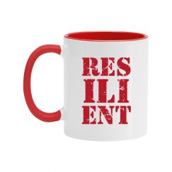 RESILIENT Red Text Two Tone Mug