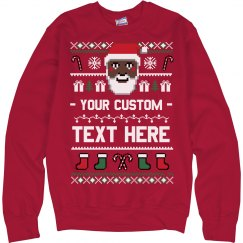Custom Black Santa Ugly Sweater