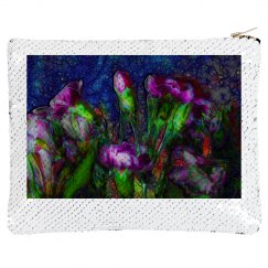 Abstract Pink Carnations Sequin Case