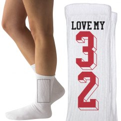 Custom Numbers Art Football Girlfriend Love Socks
