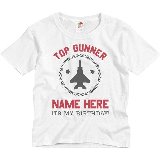 Top Gunner Birthday Youth Basic Promo T Shirt