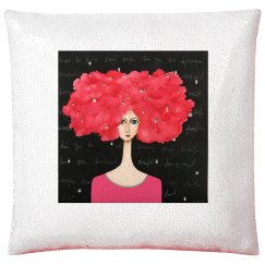 Red hair and black background (pillow case)