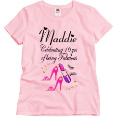 CELEBRATING BEING 16 & FABULOUS PERSONALIZED TEE