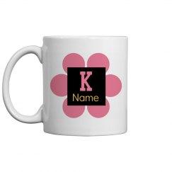Trendy Pink Flower Monogram Coffee Mug