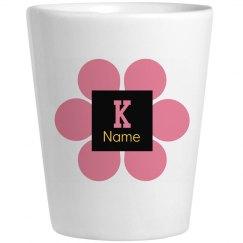 Trendy Pink Flower Monogram Shot Glass
