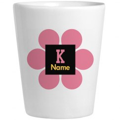 Trendy Pink Flower Monogram Shot Glass
