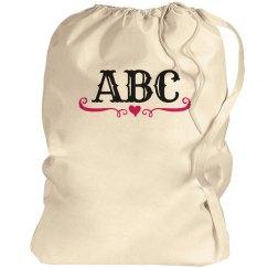 Custom Initials School Laundry Bag
