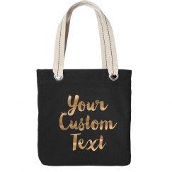 Metallic Gold Custom Tote Bags