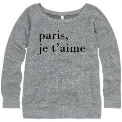 """""""Paris, je t'aime"""" Black Text"""