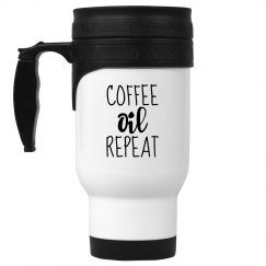 COFFEE OIL REPEAT White Stainless Steel Travel Mug