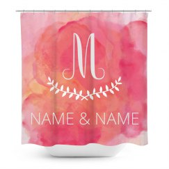 Custom Initials Watercolor Shower Curtain