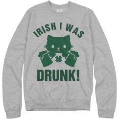 Irish I Was Drunk St Patrick Cat