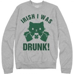Irish I Was Drunk St Patrick Cat